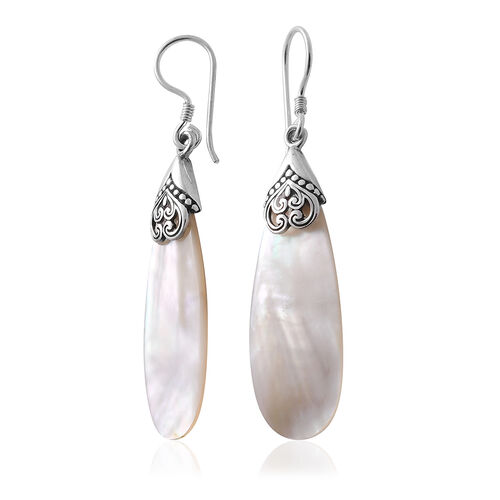 Royal Bali Collection Mother of Pearl Hook Earrings in Sterling Silver