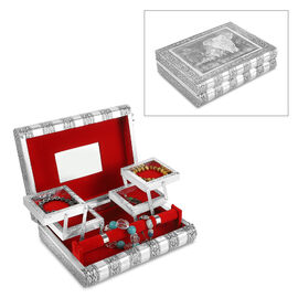 Elephant Family Embossed Handcrafted Jewellery Organizer with 4 Extendable Trays, Inside Mirror and
