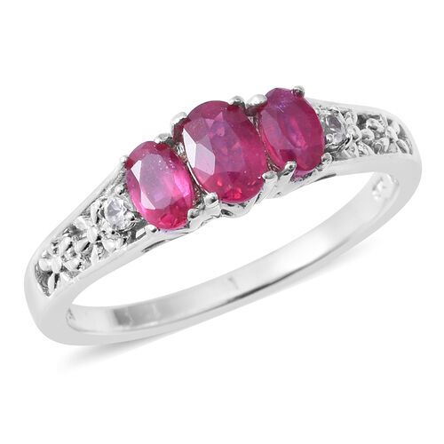African Ruby (Ovl 1.25 Ct), Natural White Cambodian Zircon Ring in Rhodium Overlay Sterling Silver 1.350 Ct.