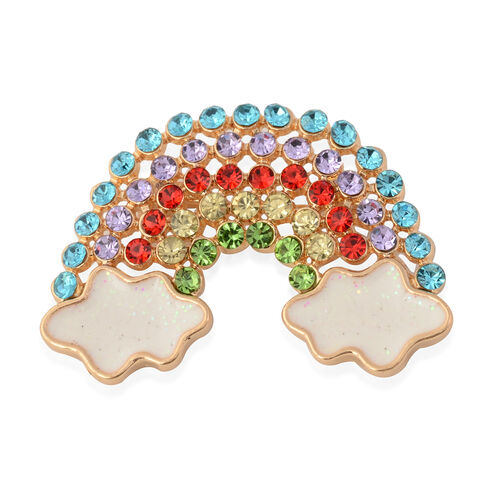 Multi Colour Crystal Studded Enamelled Rainbow Brooch with Cloud