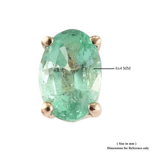9K Yellow Gold AA Boyaca Colombian Emerald (Ovl) Stud Earrings (with Push Back) 0.850 Ct.