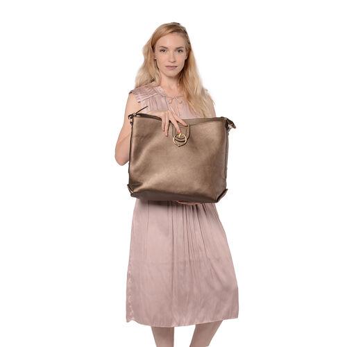 Metallic Bronze Tote Bag with Zipper Closure (Size 40x13x34 Cm)