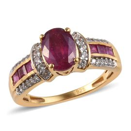 African Ruby (Ovl and Sqr), Natural Cambodian Zircon Ring in 14K Gold Overlay Sterling Silver 2.55 C