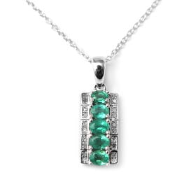 AAA Kagem Zambian Emerald (Ovl), Diamond Pendant with Chain (Size 18 with 1.5 inch Extender) in Rhod