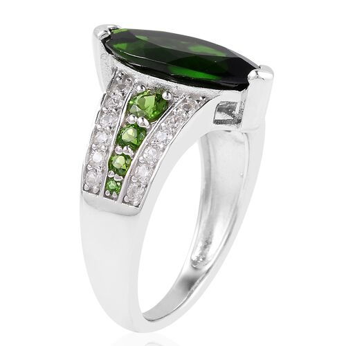 Preview Auction- Extremely Rare Size Russian Diopside (Mrq 14x7 mm), Natural White Cambodian Zircon Ring in Rhodium Overlay Sterling Silver 3.705 Ct.