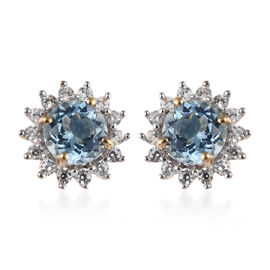 9K Yellow Gold AA Espirito Santo Aquamarine (Rnd), Natural Cambodian Zircon Stud Earrings (with Push