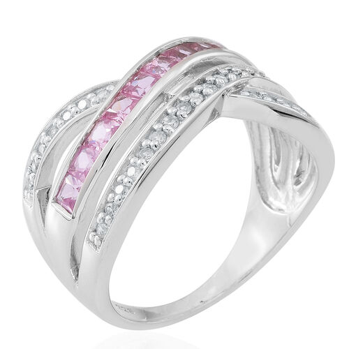 Pink Sapphire (Sqr),Natural White Cambodian Zircon Criss Cross Ring in Rhodium Plated Sterling Silver 2.000 Ct.