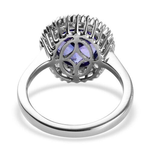 RHAPSODY 950 Platinum AAAA Tanzanite and Diamond (VS/E-F) Ring 4.75 Ct, Platinum wt 5.74 Gms