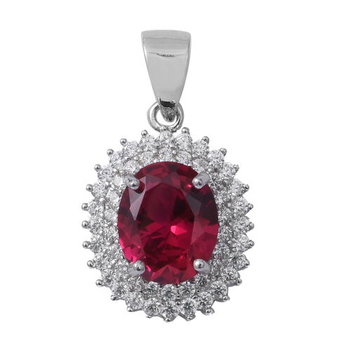 ELANZA Simulated Ruby (Ovl),Simulated Diamond Pendant in Rhodium Overlay Sterling Silver