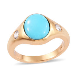 Arizona Sleeping Beauty Turquoise (Ovl 10x8 mm), Natural Cambodian Zircon Ring in 14K Gold Overlay S