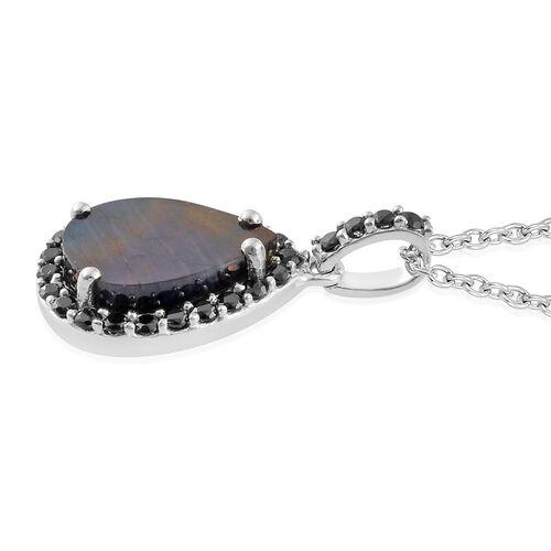 Natural Spectrolite (Pear 3.00 Ct), Boi Ploi Black Spinel Pendant with Chain in Platinum Overlay Sterling Silver 3.750 Ct.