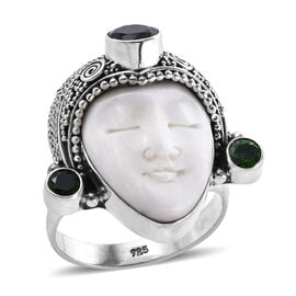 Princess Bali 3.06 Ct OX Bone Carved Face and Russian Diopside Ring in Sterling Silver 9.32 Grams