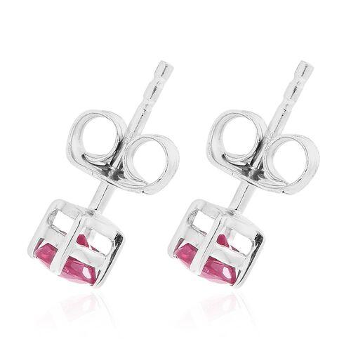 9K White Gold 0.75 Carat AA Burmese Ruby (Rnd) Stud Earrings (with Push Back)