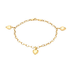 Oval Belcher Heart Charm Bracelet in 9K Yellow Gold 7 Inch