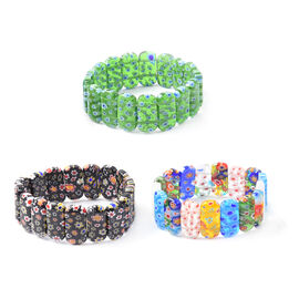 Set of 3 - Black, Green and Multi Colour Murano Style Glass Stretchable Bracelet (Size 7)