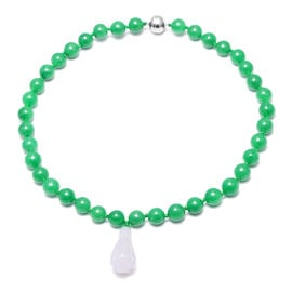 Natural Jade, Green Jade Necklace (Size - 18) in Sterling Silver 359.00 Ct.