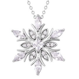 ELANZA Simulated Diamond Snowflake Pendant with Chain in Rhodium Plated Sterling Silver