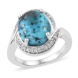 5 Carat Persian Turquoise and Natural Cambodian Zircon Halo Ring in Platinum Plated Sterling Silver