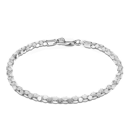 JCK Vegas Collection Rhodium Plated Sterling Silver Round Mirror Bracelet (Size 8)