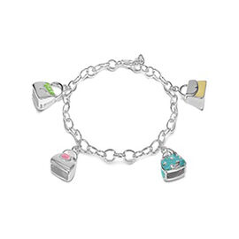 Enamelled Handbag Charm Bracelet in Sterling Silver 7.25 Inch