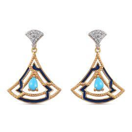 Arizona Sleeping Beauty Turquoise and Natural Cambodian Zircon Dangling Earrings in 14K Gold Overlay
