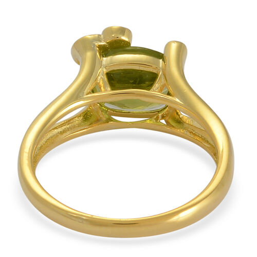 Hebei Peridot (Ovl 2.75 Ct), White Topaz Ring in Yellow Gold Overlay Sterling Silver 2.780 Ct.