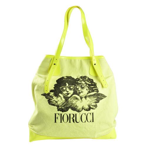 FIORUCCI Eco-Friendly Angle Printed Canvas Tote Bag with Zipper Closure (Size 39x17x31 Cm) - Neon Ye