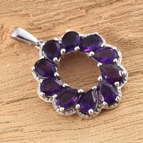 Lusaka Amethyst (Pear) Circle of Life Pendant in Platinum Overlay Sterling Silver 3.500 Ct.