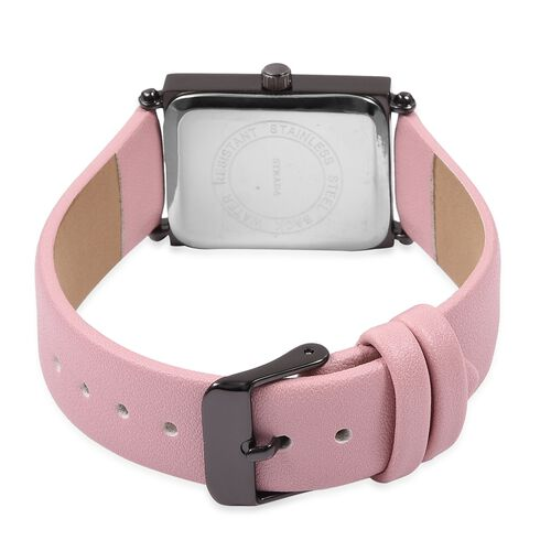 STRADA Japanese Movement Water Resistant Black Plated Watch with Pink Colour Strap.