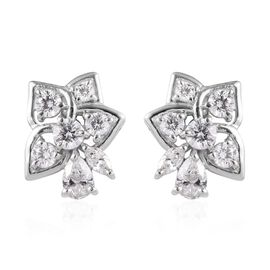 J Francis Made with SWAROVSKI ZIRCONIA Floral Stud Earrings in Platinum plated Sterling Silver