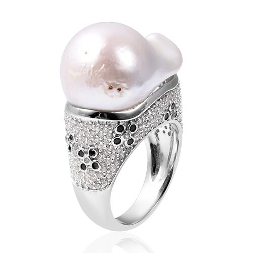 Baroque Fresh Water White Pearl, Natural Cambodian White Zircon and Boi Ploi Black Spinel Ring in Rhodium Overlay Sterling Silver, Silver wt 8.11 Gms