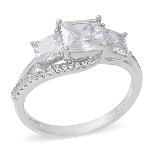 ELANZA Simulated Diamond Trilogy Ring in Rhodium Plated Sterling Silver