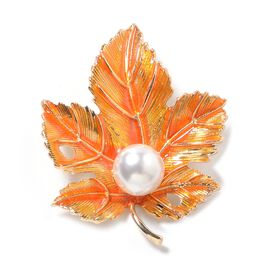 Simulated Pearl (Rnd) Maple Leaf Brooch with Enameled