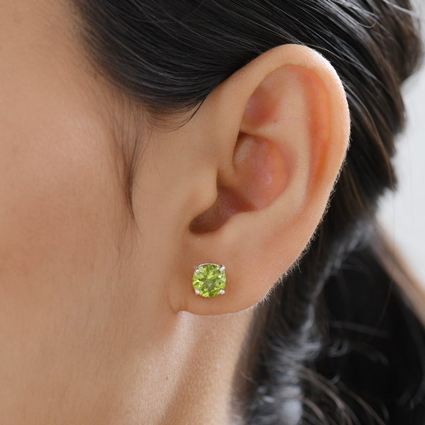 Hebei Peridot (Rnd) Stud Earrings (with Push Back) in Platinum Overlay Sterling Silver 2.74 Ct.