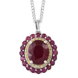 Limited Edition - Very Rare Size African Ruby (Ovl) and Yellow Sapphire Pendant with Chain in Platinum Overlay Sterling Silver 9.250 Ct