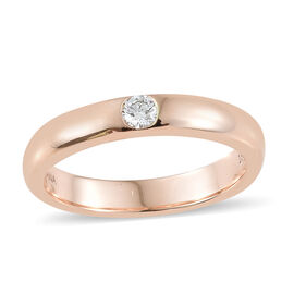 ILIANA 18K Rose Gold IGI CERTIFIED Diamond (Rnd) (VS/G-H) Ring 0.090 Ct, Gold Wt: 5.33 Gms.