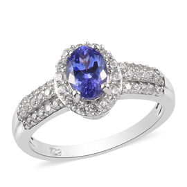 Premium Tanzanite and Natural Cambodian Zircon Ring in Platinum Overlay Sterling Silver 1.30 Ct.