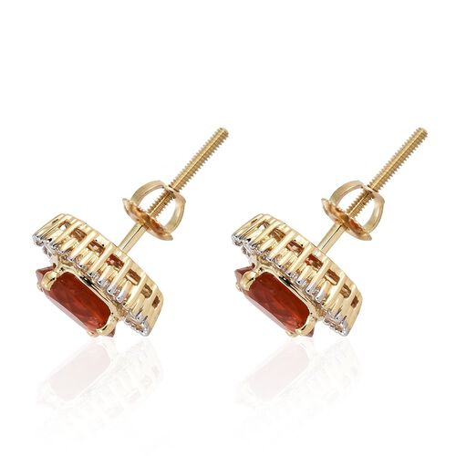 Signature Collection-ILIANA 18K Yellow Gold Extremely Rare AAAA Jalisco Fire Opal (Rnd), Diamond (SI/G-H) Stud Earrings (with Screw Back) 2.000 Ct.