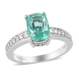 RHAPSODY 950 Platinum AAAA Boyaca Colombian Emerald and Diamond (VS/E-F) Ring 2.75 Ct, Platinum wt 6