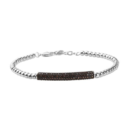0.50 Ct Red Diamond Friendship Bracelet in Platinum Plated Silver 7 Inch