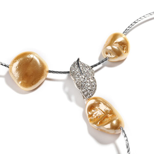 Golden Shell Pearl and Simulated Diamond Adjustable Necklace (Size 18) in Silver Tone
