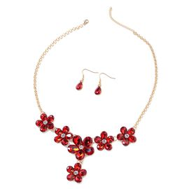 Simulated Ruby (Pear), White Austrian Crystal BIB Necklace (Size 21 and 2.5 inch Extender) and Drop Hook Earrings in Yellow Gold Tone