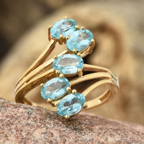 One Time Deal - Paraiba Apatite (Ovl 6x4mm) 5 Stone Crossover Ring in 14K Gold Overlay Sterling Silver 2.000 Ct.