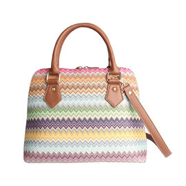 SIGNARE - Tapestry Pug Convertible Aztec Shoulder Bag with Removable Strap (36 x 23 x 12.5 cms)
