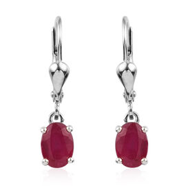 African Ruby (Ovl) Lever Back Earrings in Platinum Overlay Sterling Silver 2.25  Ct.