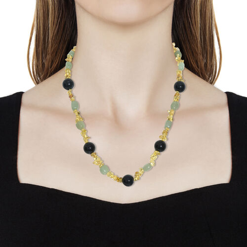 Moss Agate ,Citrine,Green Aventurine Necklace (Size 20) in Platinum Overlay Sterling Silver 296.000 Ct.