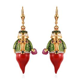 GP African Ruby (Hrt) and Multi Gemstone Genie Earrings (with Lever Back) in Enamelling Platinum and