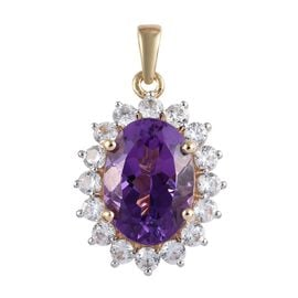 7.50 Ct AA Moroccan Amethyst and Natural Cambodian Zircon Halo Pendant in 9K Gold 2.50 Grams