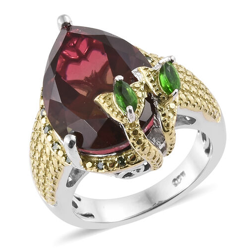 Finch Quartz (Pear 16x12 mm), Russian Diopside and Green Diamonds Floral Ring in Platinum Overlay Wi