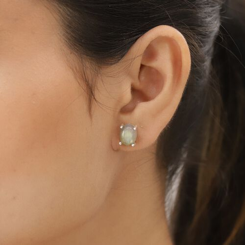 Labradorite Solitaire Stud Earrings (with Push Back) in Sterling Silver 6.00 Ct.